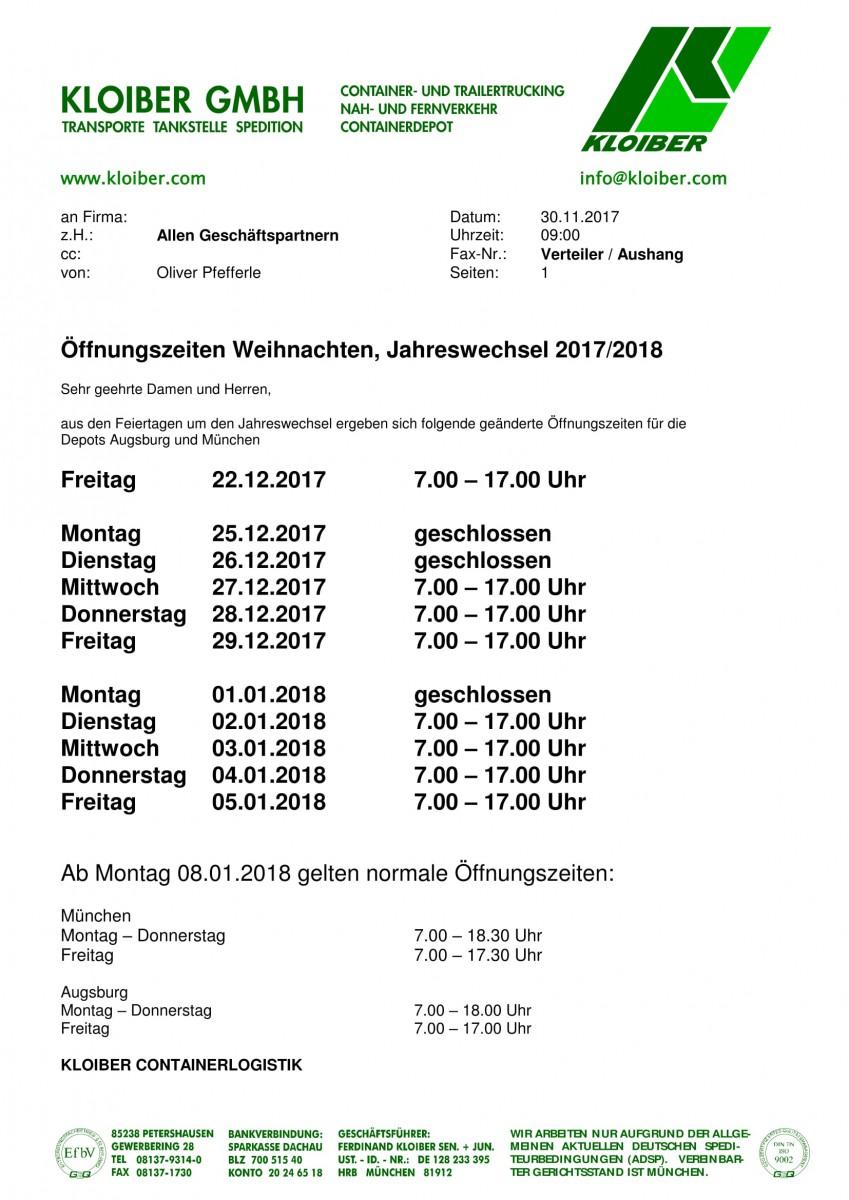 Kloiber Gmbh Betriebszeiten Jahreswechsel 20172018 Kloiber Gmbh